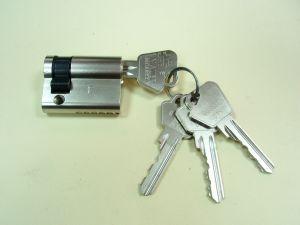 """Секретен патрон """"СТАНДАРТ"""" 31/9 мм.Никел.Едностранен.С 4 ключа.С палец по БДС или ДИН."""