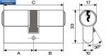 Секретен патрон MLS R.L.36/41 мм.Никел.С 5 ключа.С палец БДС.